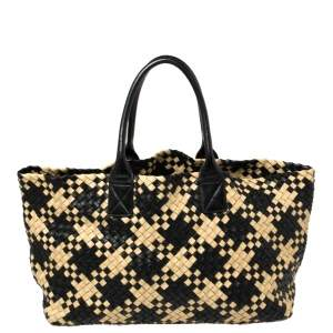 Bottega Veneta Black/Beige Intrecciato Leather Medium Cabat Tote