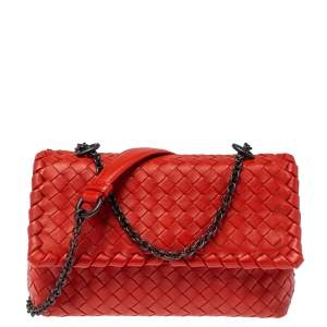 Bottega Veneta Orange Intrecciato Leather Baby Olimpia Shoulder Bag
