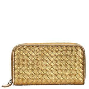Bottega Veneta Metallic Gold Intrecciato Leather Zip Around Wallet