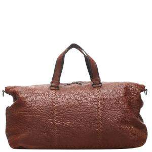 Bottega Veneta Brown Intrecciato Leather Travel Bag