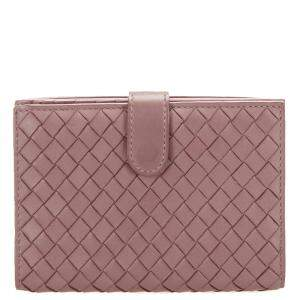 Bottega Veneta Pink Intrecciato Leather Bifold Wallet