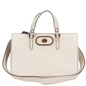 Bottega Veneta White Intrecciato Leather Satchel Bag