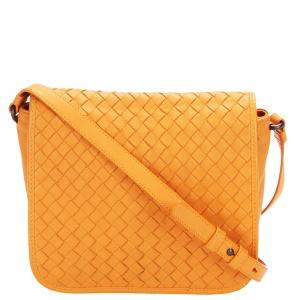 Bottega Veneta Orange Intrecciato Leather Crossbody Bag