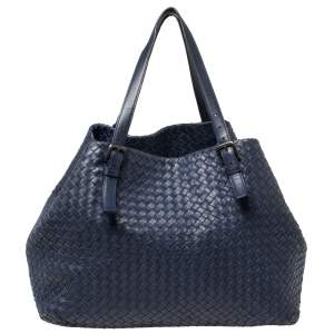 Bottega Veneta Midnight Blue Intrecciato Leather Large Cesta Tote