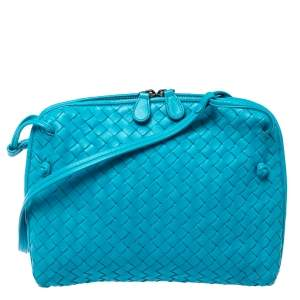 Bottega Veneta Blue Intrecciato Leather Nodini Crossbody Bag