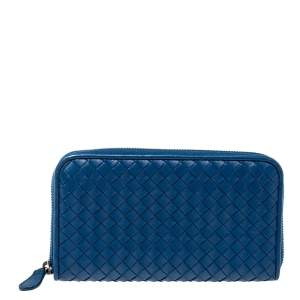 Bottega Veneta Blue Intrecciato Leather Zip Around Wallet
