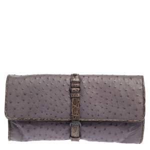 Bottega Veneta Lilac/Brown Ostrich and Crocodile Trim Buckle Flap Clutch
