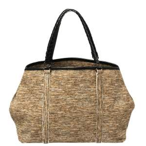 Bottega Veneta Black/Beige Printed Canvas and Leather Side Snap Tote