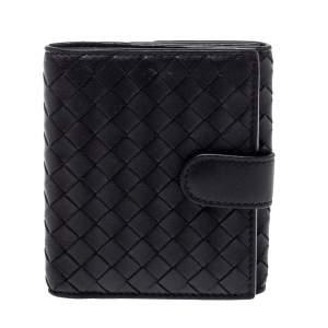 Bottega Veneta Black Intrecciato Leather French Wallet