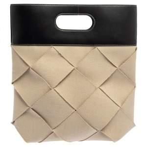Bottega Veneta Beige/Black Weave Canvas and Leather Slip Cutout Tote