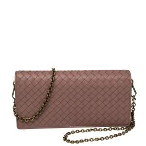 Bottega Veneta Pink Intreciatto Leather Wallet On Chain