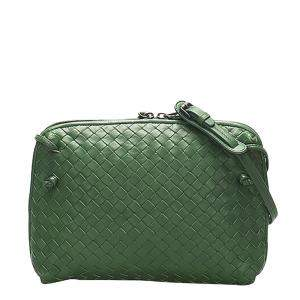 Bottega Veneta Green Intrecciato Leather Nodini Crossbody Bag