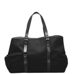 Bottega Veneta Black Canvas Travel Bag