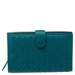 Bottega Veneta Green Intrecciato Leather French Wallet