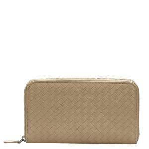 Bottega Veneta Brown/Beige Leather Intrecciato Wallet
