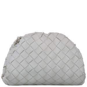 Bottega Veneta White Intrecciato Leather The Mini Pouch Crossbody Bag