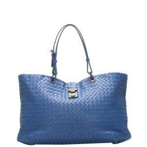Bottega Veneta Blue Leather Intrecciato Tote Bag