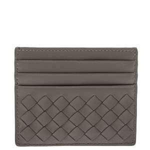 Bottega Veneta Beige Intrecciato Leather Card Holder