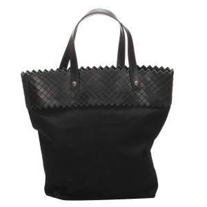 Bottega Veneta Black Intrecciato Canvas Leather Tote Bag