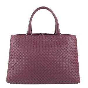 Bottega Veneta Purple Leather Intrecciato Tote Bag