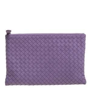 Bottega Veneta Lilac Intrecciato Leather Zip Pouch