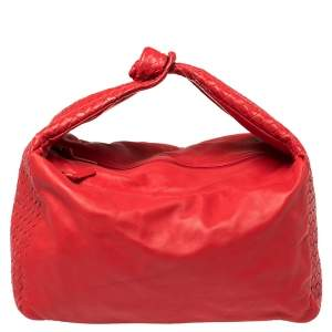 Bottega Veneta Red Intrecciato Leather Large Knot Hobo