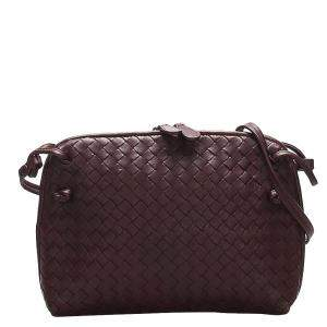 Bottega Veneta Brown/Dark Brown Leather Intrecciato Shoulder Bag