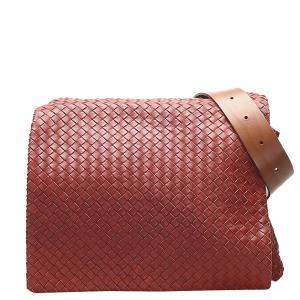 Bottega Veneta Bordeaux Leather Intrecciato Shoulder Bag