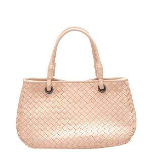 Bottega Veneta Pink Leather Intrecciato Tote Bag