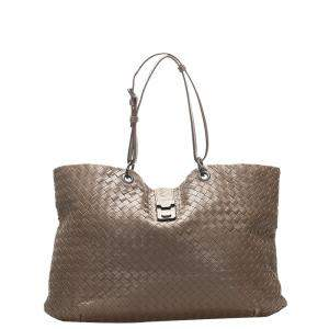 Bottega Veneta Brown Leather Intrecciato Tote Bag
