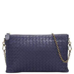 Bottega Veneta Purple Leather Intrecciato Shoulder Bag