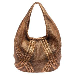 Bottega Veneta Metallic Copper Gold Leather Cervo Hobo