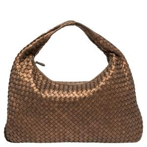 Bottega Veneta Bronze Intrecciato Leather Large Veneta Hobo