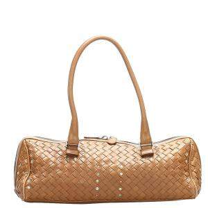 Bottega Veneta Brown Leather Intrecciato Satchel Bag