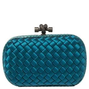 Bottega Veneta Blue Satin and Snakeskin Trim Knot Clutch