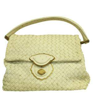 Bottega Veneta Pastel Yellow Ostrich Intrecciato Leather Satchel Bag