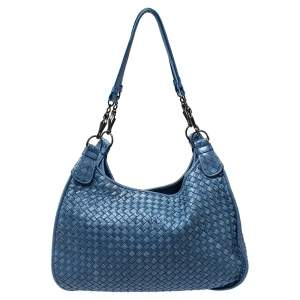 Bottega Veneta Blue Leather Intrecciato Hobo