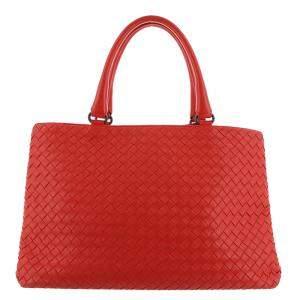 Bottega Veneta Red Leather Intrecciato Tote Bag