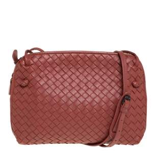 Bottega Veneta Brown Intrecciato Leather Nodini Crossbody Bag