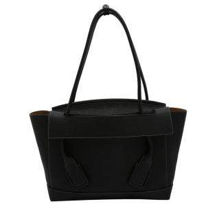 Bottega Veneta Black Grainy Calfskin Leather Medium Arco Plaster Bag