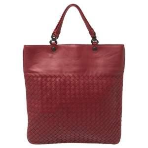Bottega Veneta Red Intrecciato Leather Slim Tote