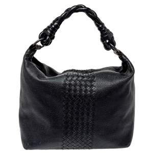 Bottega Veneta Black Intrecciato Leather Braided Handle Hobo