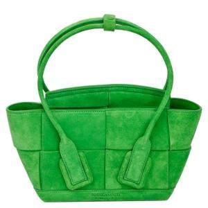 Bottega Veneta Green Suede Acro Tote Bag