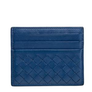 Bottega Veneta Blue Intrecciato Leather Card Holder