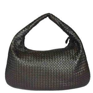 Bottega Veneta Black Intrecciato Leather Veneta Large Hobo Bag