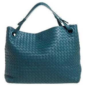 Bottega Veneta Green Intrecciato Leather Garda Tote