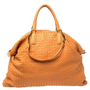 Bottega Veneta Orange Intrecciato Leather Maxi Convertible Tote