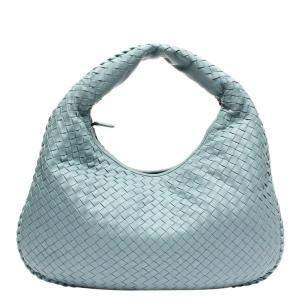 Bottega Veneta Blue Intrecciato Leather Veneta Large Bag