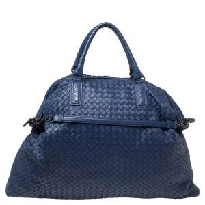 Bottega Veneta Blue Intrecciato Nappa Leather Maxi Convertible Tote