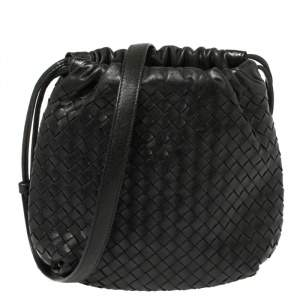 Bottega Veneta Black Intrecciato Leather Drawstring Shoulder Bag